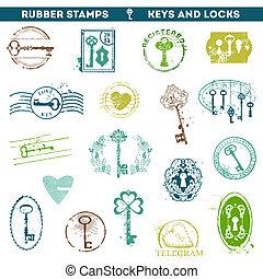 antiquité, scrapboo, ensemble, clés, -, ton, caoutchouc, serrures, timbres, vecteur, conception, ou