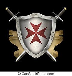 antiquité, scroll., épées, moyen-âge, bouclier