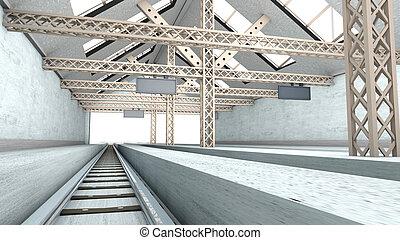 antiquité, station, train