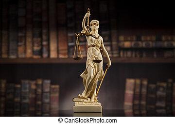 antiquité, statue, de, justice, droit & loi, livres, fond