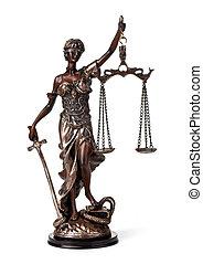 antiquité, statue, de, justice