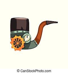 antiquité, steampunk, illustration, vecteur, mécanisme, fond, dispositif mécanique, fumer, blanc, ou, tuyau