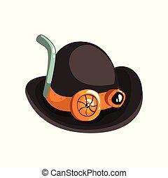 antiquité, steampunk, illustration, vecteur, noir, mécanisme, fond, dispositif mécanique, blanc, ou, chapeau, retro