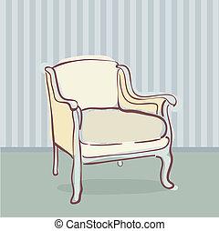 antiquité, style, chaise, retro