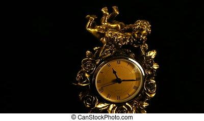antiquité, table, bronze, horloge
