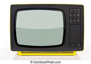 antiquité, television., jaune