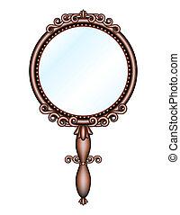 antiquité, tenu dans main, retro, miroir
