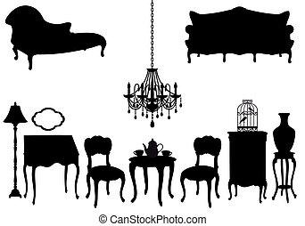 antiquité, vecteur, meubles