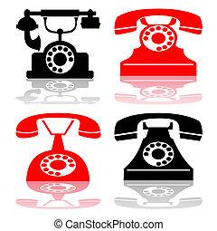 antiquité, vecteur, téléphone, collection