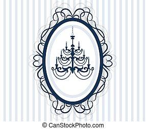 antiquité, vendange, cadre, lustre, carte