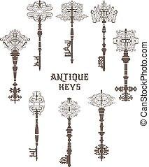 antiquité, vendange, ensemble, vecteur, keys.
