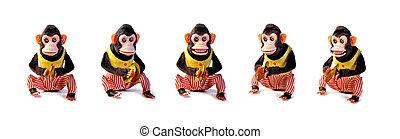 antiquité, vendange, isolé, collection, fond, blanc, singes