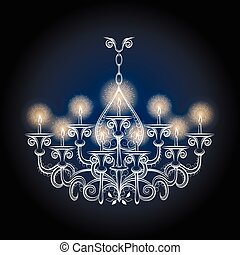 antiquité, vendange, lustre, gothique