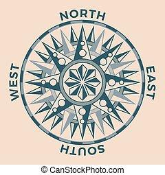 antiquité, vendange, vieux, rose, compas, nautique, vent