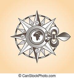 antiquité, vendange, vieux, rose, nautique, compas