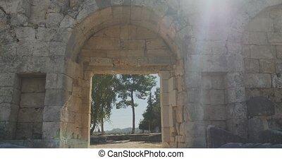 antiquité, ville, marche, ancien, perge, mur, voûte, musée, air, par, historique, ouvert