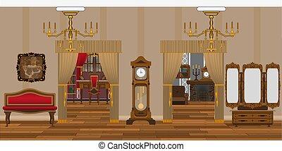 antiquité, vivant, style, salle, fond, intérieur