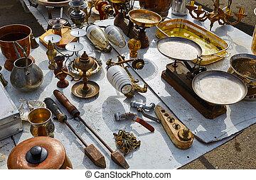 antiquités, extérieur, espagne, marché