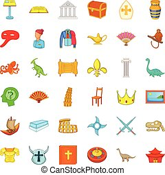Antiquity study icons set, cartoon style