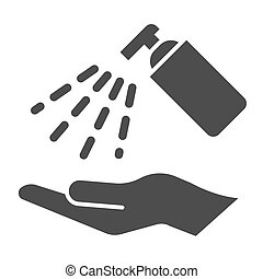 Antiseptic alcohol spray solid icon. Clean hand with hygienic gel glyph style pictogram on white background. Sanitize to prevent Covid-19 for mobile concept and web design. Vector graphics.