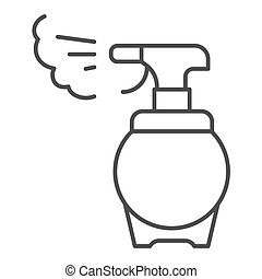 Antiseptic alcohol spray thin line icon. Hygienic gel outline style pictogram on white background. Prevention against virus, germs and infection for mobile concept and web design. Vector graphics.