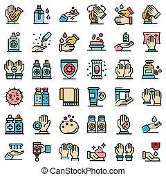 Antiseptic icons set flat