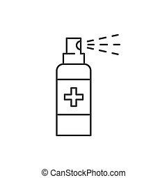 Antiseptic spray linear icon on white background