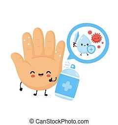 antiseptiskt medel, lycklig, söt, le, desinficera, hand