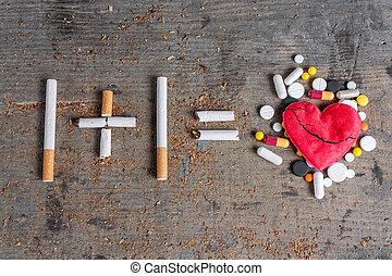Antismoking background. Diseased heart