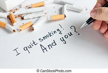 Antismoking background with broken cigarettes. Stop smoking