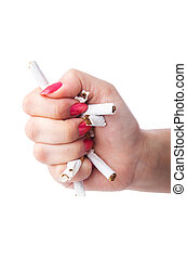 Antismoking concept with cigarettes and hand