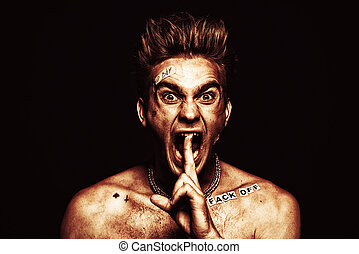 antisocial behavior rudeness - Bad boy concept. A portrait...