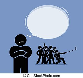 Antisocial or Anti-Social. - A man looking at a group of...