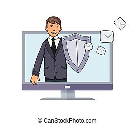 Antispam defender. Man with a shield protecting conputer from unwanted mail and spam. Concept vector illustration. Flat style. Isolated on white background.