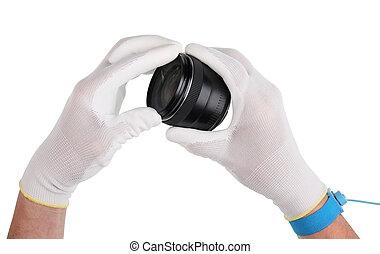 antistatic, moderno, pulizia, manutenzione, tecnico, professionale, marche, lenti, gloves.