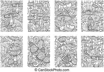 antistress, champignons, page, livre, ensemble, coloration