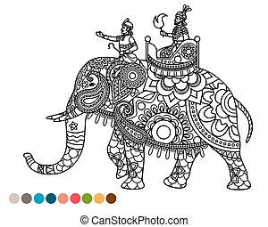 Antistress coloring page with maharaja on elephant