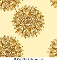 antistress, flor, cor alaranjada, seamless, ilustração, ...