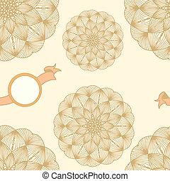 antistress, laranja, raster, ilustração, flor, mandala., ...