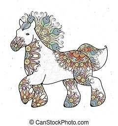 Antistress linear page with horse. Zentangle animal for...