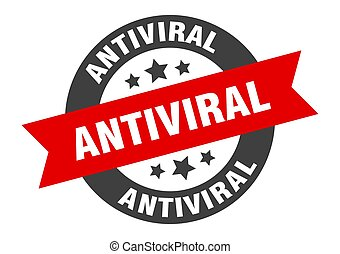 antiviral sign. round isolated sticker. ribbon tag
