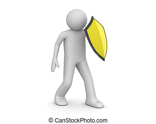 Antivirus - 3d isolated characters on white background...