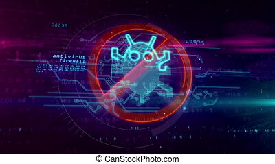 Antivirus hologram symbol on cyber background - Antivirus, ...