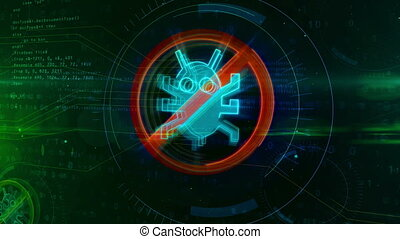 Antivirus icon on digital background. Internet worm ban ...