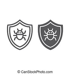 Antivirus line and glyph icon, technology and protection, software firewall sign, vector graphics, a linear pattern on a white background.