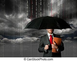 antivirus, och, firewall, begrepp