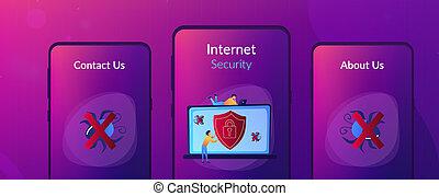 Antivirus software app interface template. - A man before...