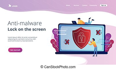 Antivirus software concept landing page. - A man before...
