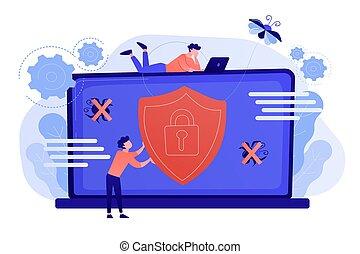 Antivirus software concept vector illustration. - A man...