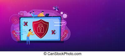 Antivirus software header or footer banner. - A man before...